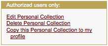 Screenshot of MERLOT Personal Collection links